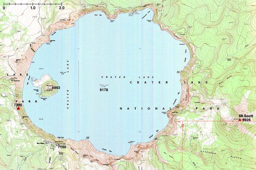 Crater Lake Topographic Map.Crater Lake Map